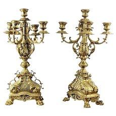 Pair of Renaissance Revival Brass Candelabra