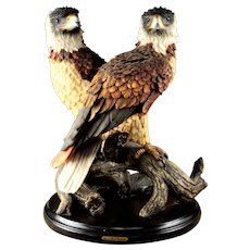 "Impressive David Marks Creation ""Bald Eagles"" Sculpture"