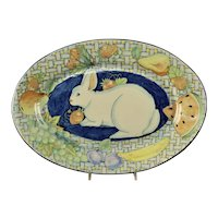 Large Davila Brodsky Rabbit Artworks Santa Fe Oval Tray 1987