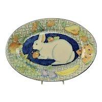 Large Davila Brodsky Rabbit Artworks Santa Fe Oval Tray 1987