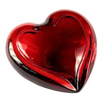 Waterford Crystal Siren Red Puffed Heart Paperweight