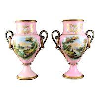 Pair Of Antique Henri Ardant French Porcelain Urns
