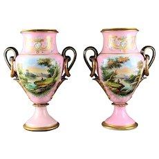 Pair Of Antique Henri Ardant French Porcelain Urns