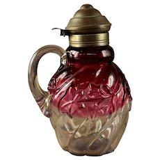 "Northwood ""Royal Ivy"" Rubina Art Glass Syrup"
