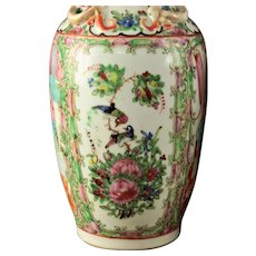 Pair Of 19th Century Chinese Rose Medallion Export Porcelain Vases,