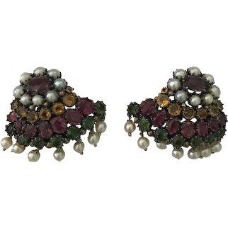 Large multi-gem fan shaped earrings