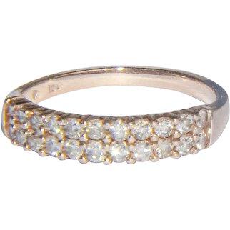 10K Rose gold double diamond band