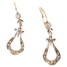14K Victorian Holland Rose Cut Diamond Earrings