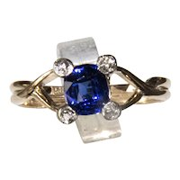 Vintage .85 Ct Blue Sapphire & Euro Cut Diamond Ring