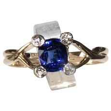 Vintage .85 Ct Blue Sapphire & Euro Cut Diamond Ring