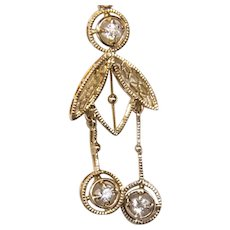 14K Edwardian Diamond Negligee Pendant