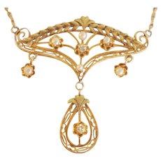 Victorian 14K Rose Gold Pearl & Diamond Lavalier