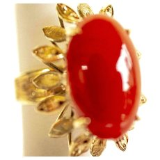 Vintage Handmade 14K Yellow Gold 5Ct. Red Oval Carnelian Ring