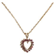 14K .54Ct Natural Ruby Heart Pendant