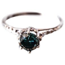 1950's 14K WG Blue Diamond Solitaire Engagement Ring