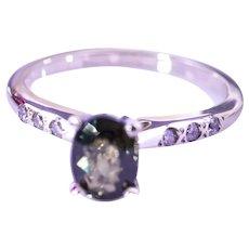 14K White Gold Purple-Green Sapphire Diamond Ring