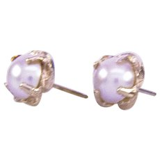 14K Claw Set Mabe Pearl Earrings