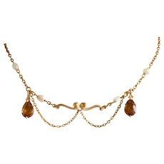 14K Art Nouveau Amber Pearl Swag Necklace