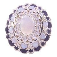 Beautiful 10 Ct. Diamond and Opal Ring