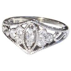14K WG diamond 1950's ring