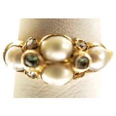 Antique Victorian English 15K  Pearl Emerald & Diamond Locket Ring c1850