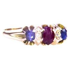 C-1850 - 1890 15 Ct Ruby Sapphire Diamond Ring