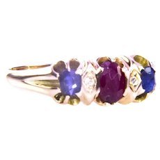 C-1850 - 1890 15K Yellow Gold Ruby Sapphire Diamond Ring