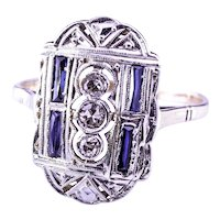 Handmade 1920's Art Deco 18K YG + Platinum Diamond & Sapphire Ring