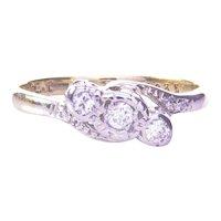 18K& Platinum 3 Stone Diamond Ring Dated 1935