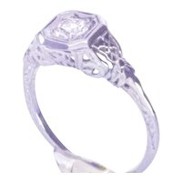 Vintage 18K WG Art Deco Engagement Ring