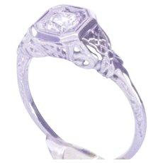 18K WG  Edwardian/Art Deco Engagement Ring