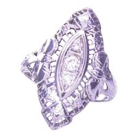 18K Edwardian/Deco Diamond Filigree Navette Ring