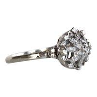 18K WG Fancy Gold Work High Crown Diamond Ring