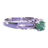 18K White Gold Vintage .30Ct Emerald Ring