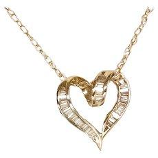 18K Plumb YG .40 Ct Diamond Heart Pendant