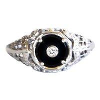 1920's Art Deco 18K WG Filigree Black Onyx and Diamond Ring