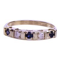 Solid 18 Carat YG Natural Sapphire & Diamond Band Ring
