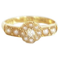 Victorian 18k Gold Pearl & Old Cut Diamond Ring