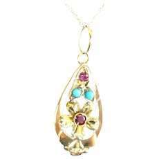 French Victorian 18K Gold Ruby Turquoise Flower Pendant