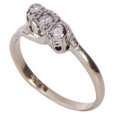1930's 18K YG + Platinum 3 Stone Diamond Ring
