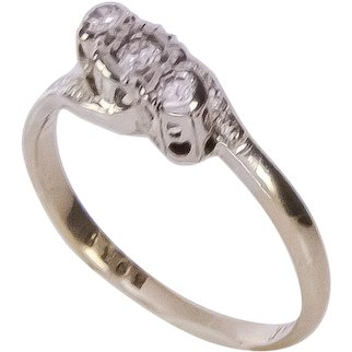 1930's 18K YG + Platinum 3 Stone Diamond Ring