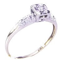 1930's 14K Yellow and White Gold Petite Diamond Ring