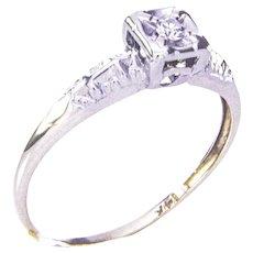 1930's 14K Yellow and White Gold Petite Diamond Ring