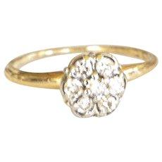 Vintage 1940's 10K Yellow Gold Diamond Flower Ring