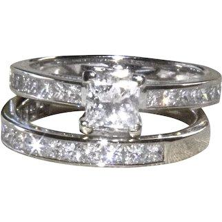 1.33 Ct. 14K WG Princess Cut Diamond Engagement Ring and Wedding Band