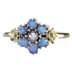 Antique Late Georgian, Early Victorian 22K YG Turquoise and Pearl Ring