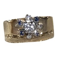 Estate 14K YG Wide Band Diamond & Sapphire Ring
