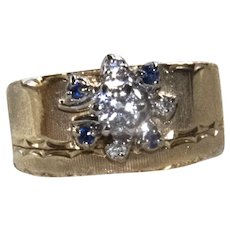 Estate 14K YG Wide Band Diamond & Sapphire Ring