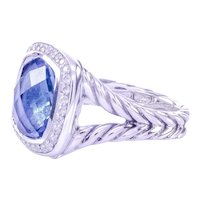 C-2000 Rare Signed David Yurman Albion Collection Blue Topaz Diamond Ring