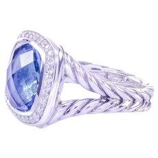C-2000 Rare Signed David Yurman Albion Collection Blue Topaz Diamond Ring